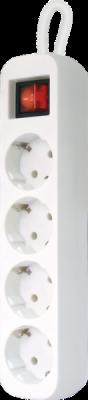 НОВИНКА. Удлинитель с заземлением S430 Выключатель, 3.0 м, 4 розетки
