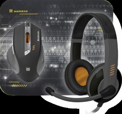 НОВИНКА. Игровой набор Warhead MPH-1500 черный,мышь+гарнитура+ковер