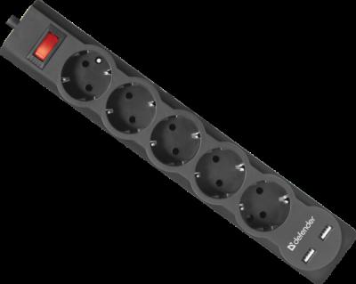 Сетевой фильтр Defender DFS 755 5,0 м, 5 розеток, 2xUSB, 2.1A